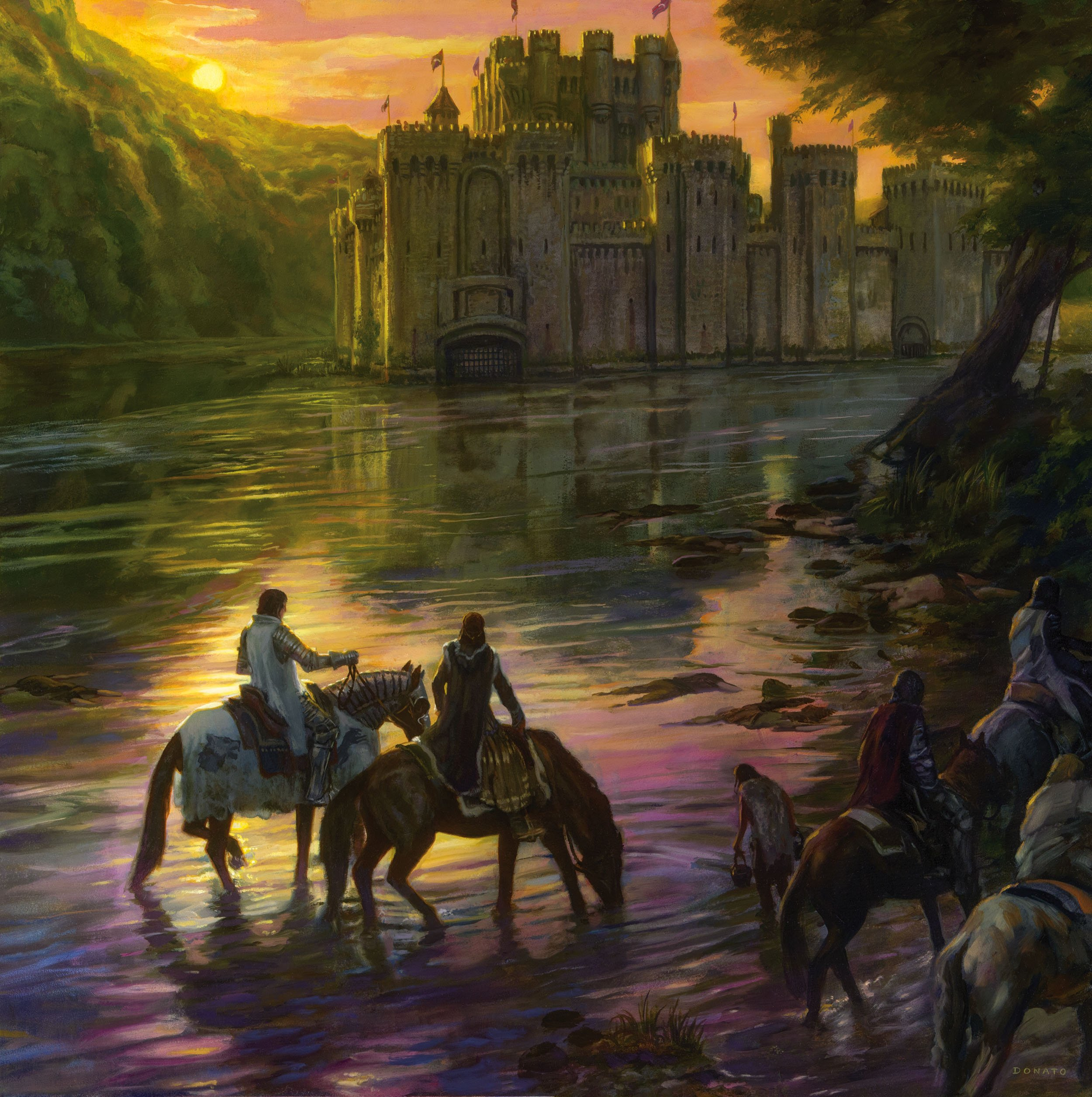 "Riverrun - Catelyn and Robb Stark 30"" x 30""  oil on Panel  2014 Collection of George R.R. Martin"
