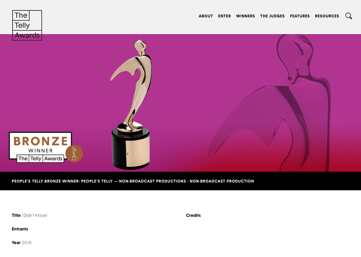 """I Didn't Know!"" was a Bronze People's Telly Award Winner"