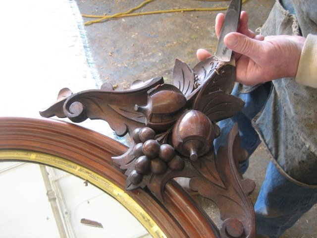 Victorian Period Carved Walnut Mirror
