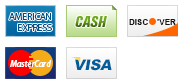 We accept American Express, Cash, Discover, MasterCard and Visa.