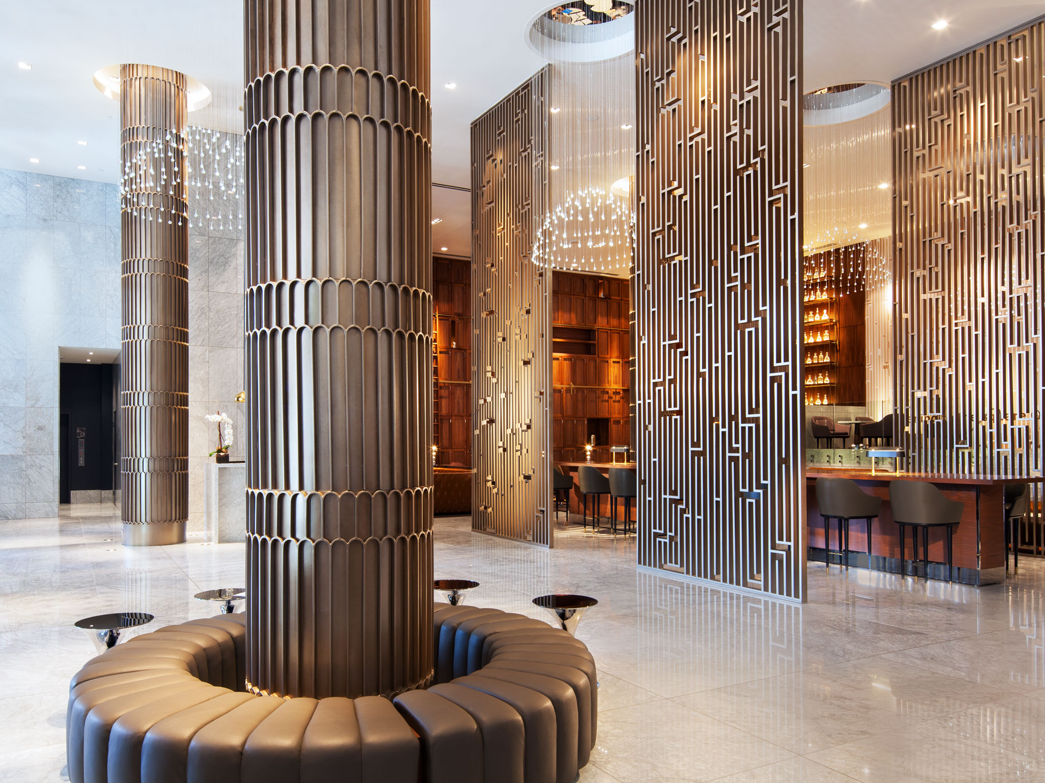 DTLA Sheraton - Decorative Lobby Screens and Columns
