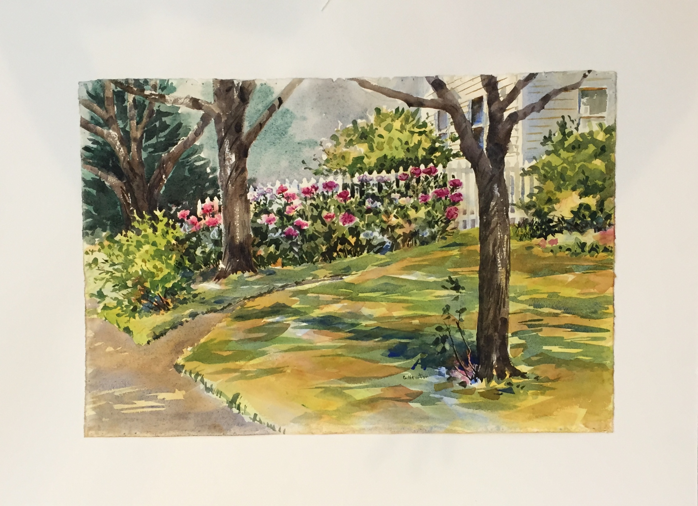 "Georgia Newton Garden Watercolor 23"" X 15"" $100."