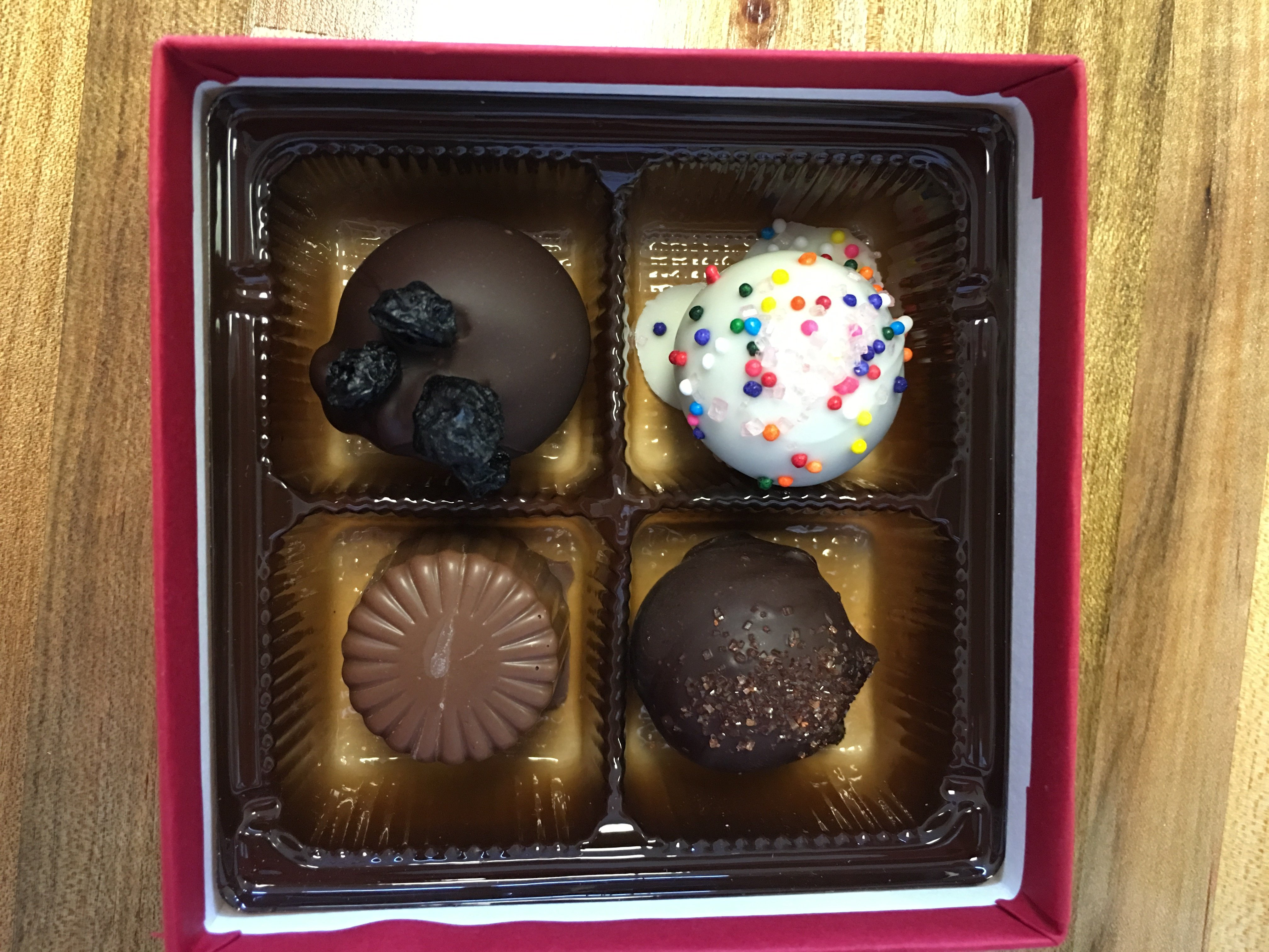 Four Chocolate Truffles in a Box