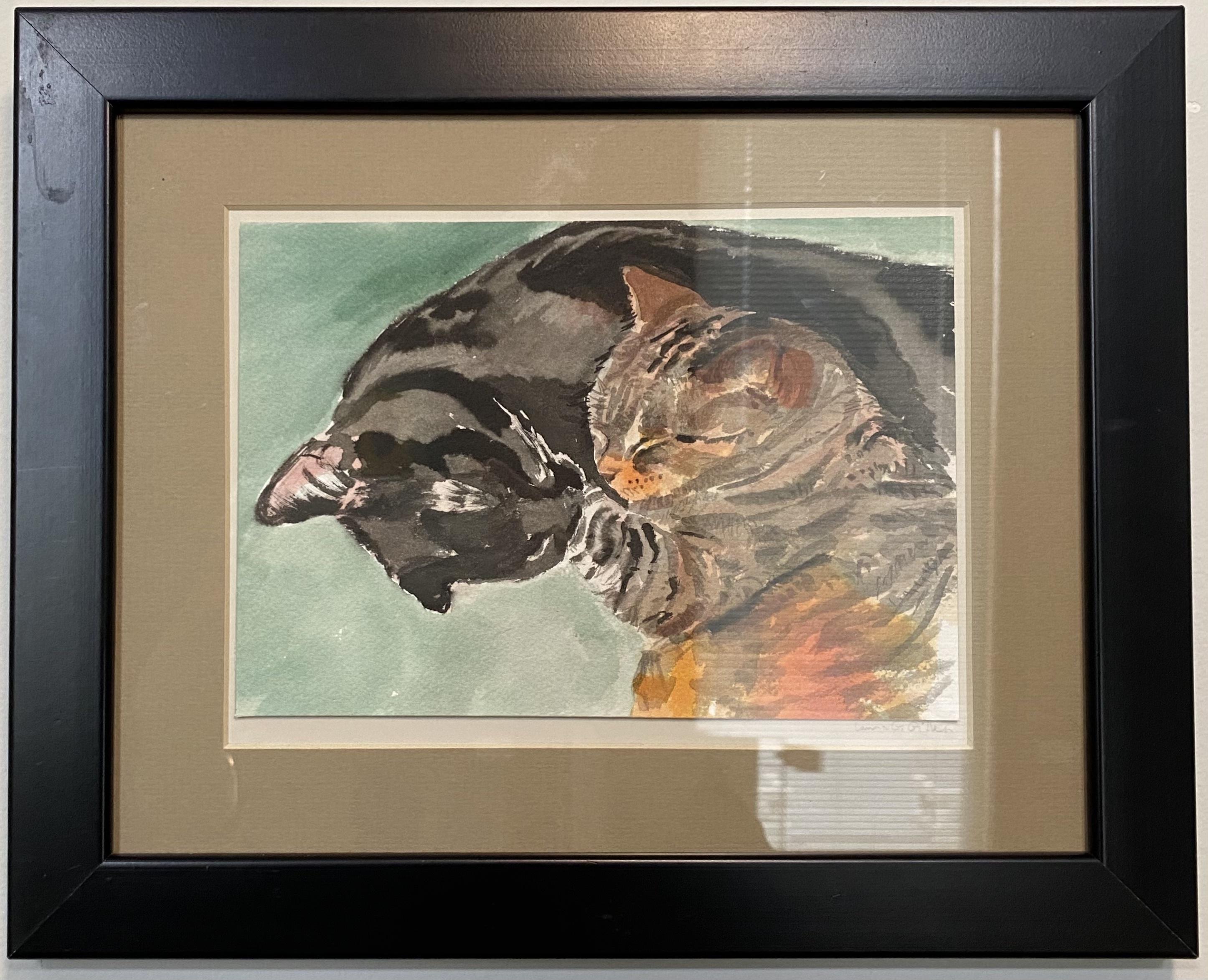 "Cat Swirl Oil  4"" X 6"" $135."