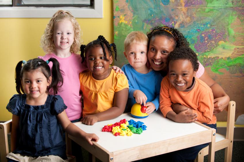 Small children in preschool