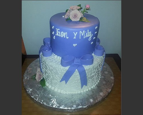 Purple Cake With Ribbons