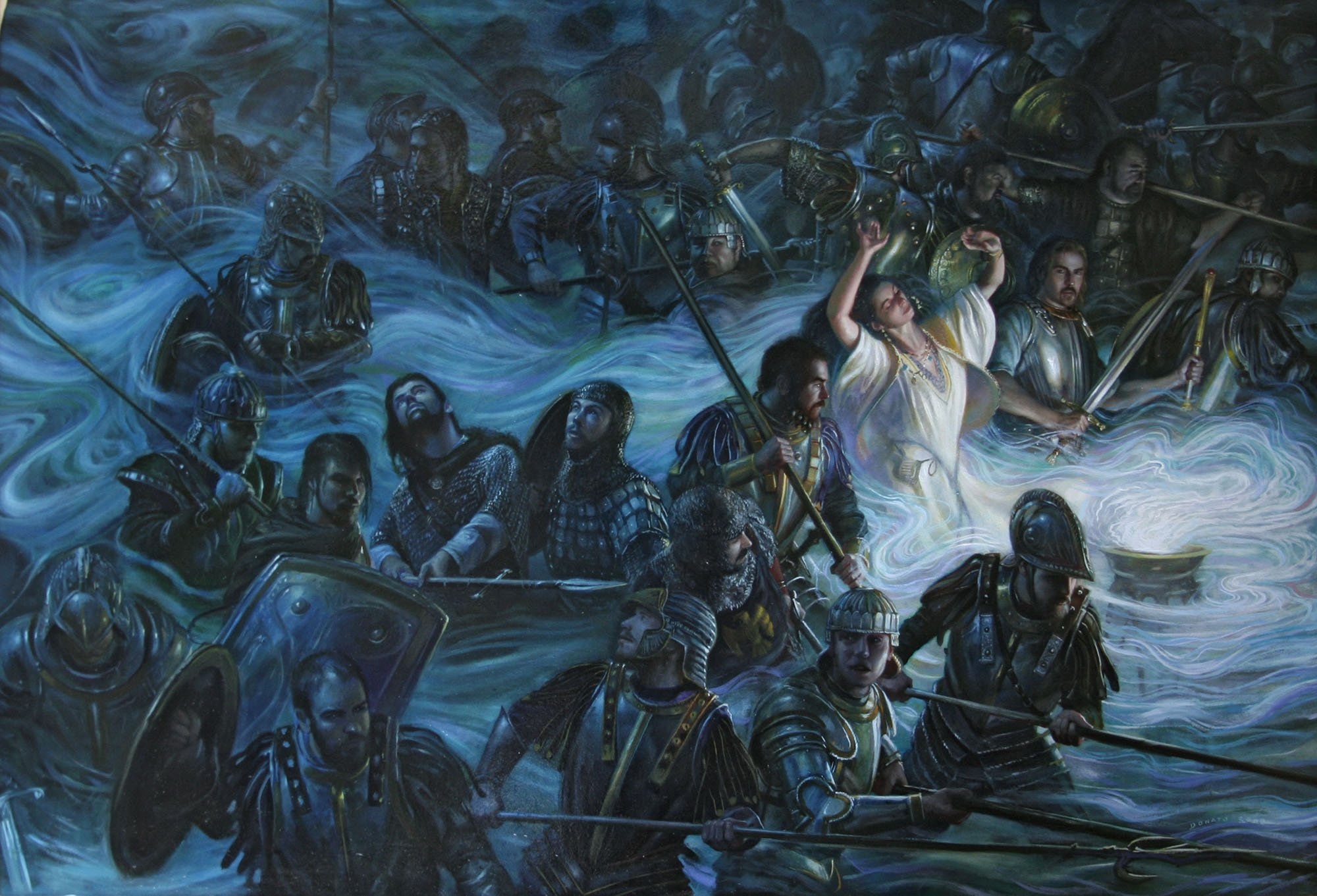 "The Gods Return 36"" x 24"" Oil on Paper on Panel 2008 cover for the novel The Gods Return: The Crown of the Isles, the third novel in The Crown of the Isles series by David Drake private collection"