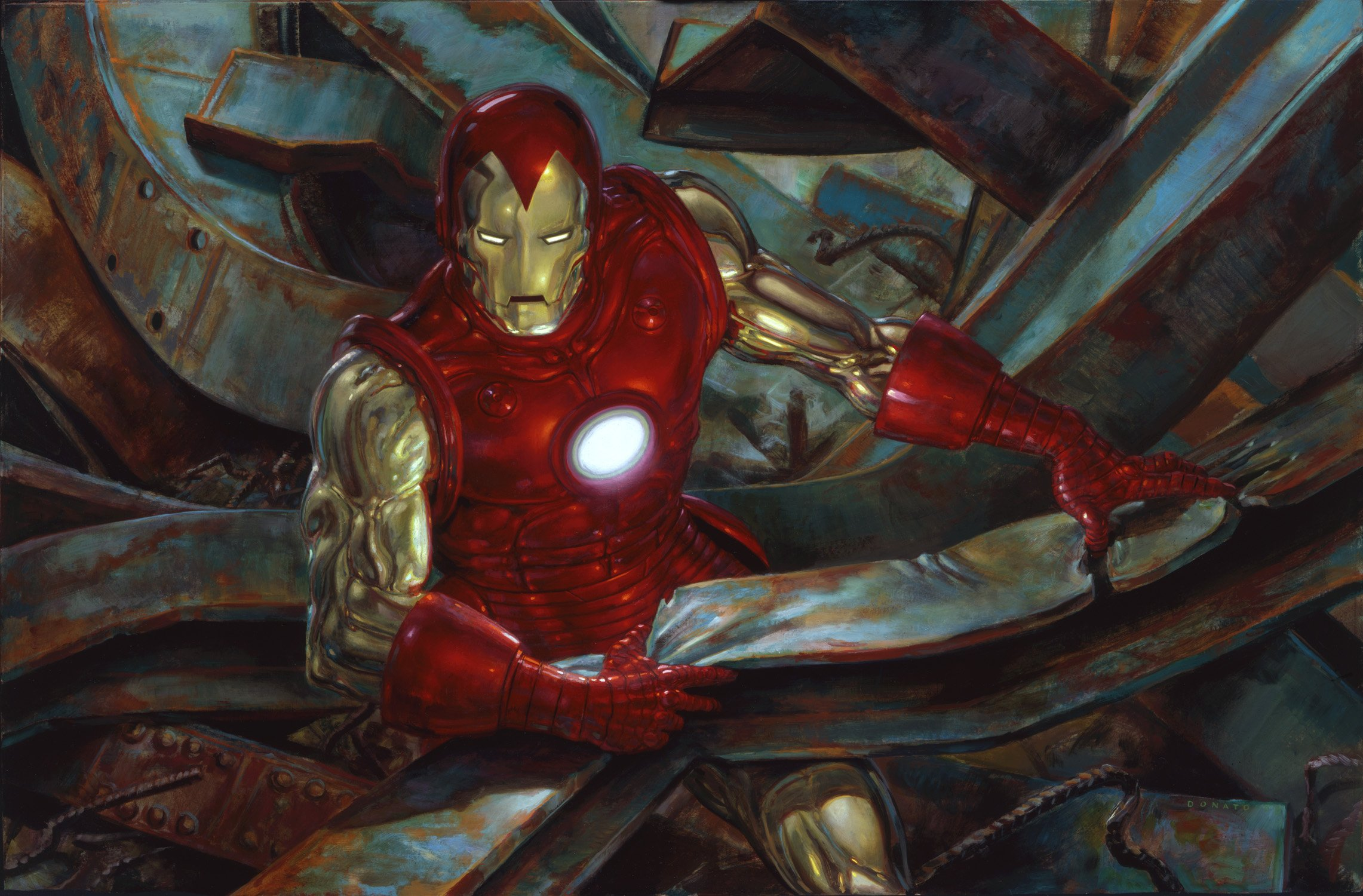 "Iron Man 24"" x 36""  Oil on Panel  2009 Created as a demonstration in techniques for the Illustration Master Class original art available for purchase"