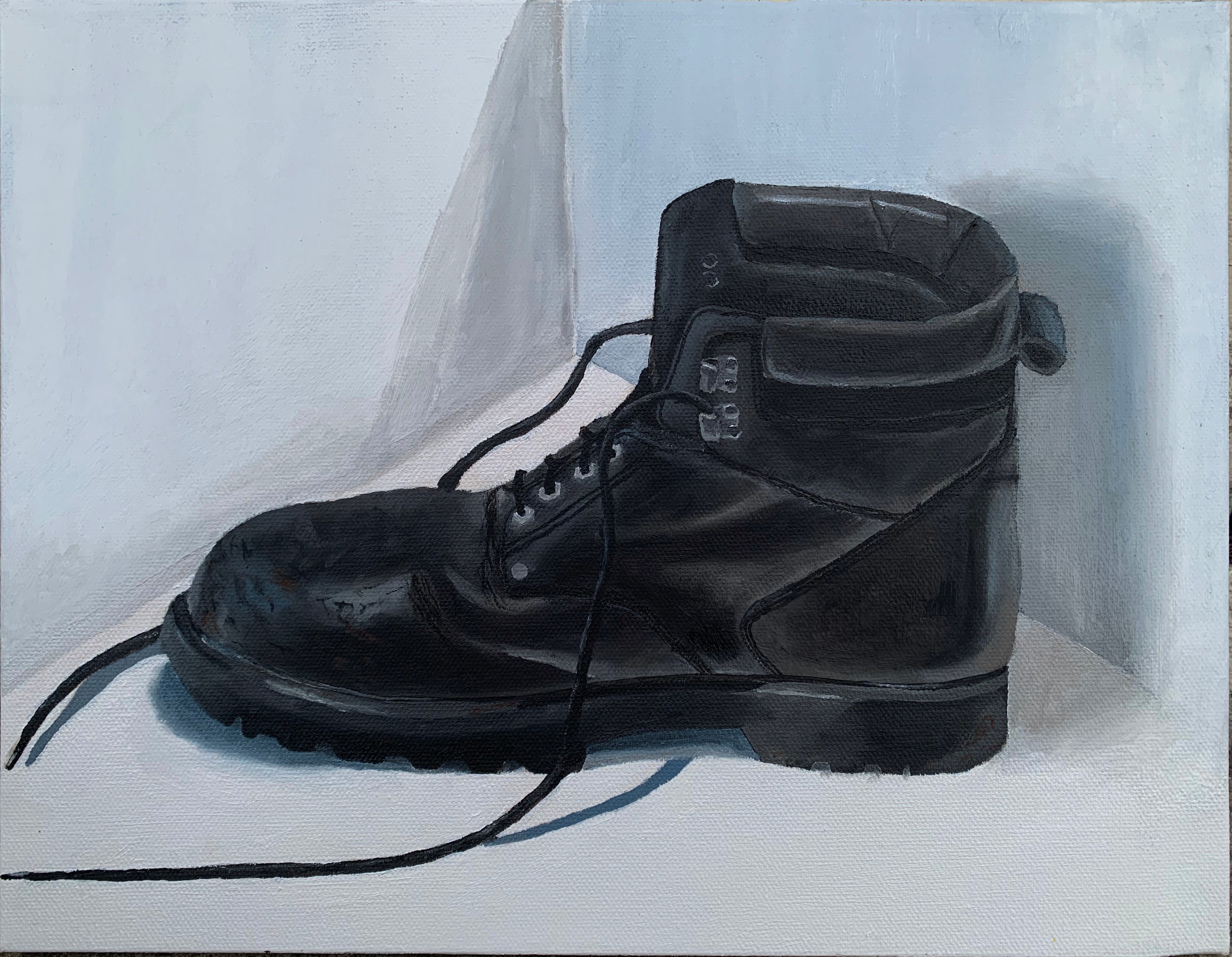 """""""Steel Toes"""" Water mixable oil on canvas"""