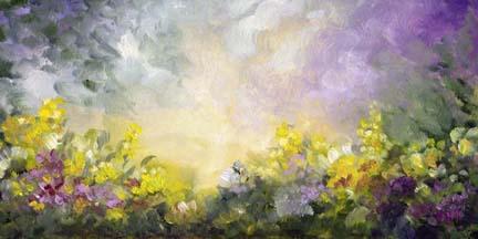 "Fantasy Garden ~ 6"" x 12""  Oil on Canvas Textured Panel  $150"