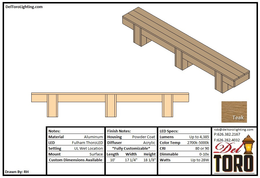 611F-Downward Lit Composite Bench