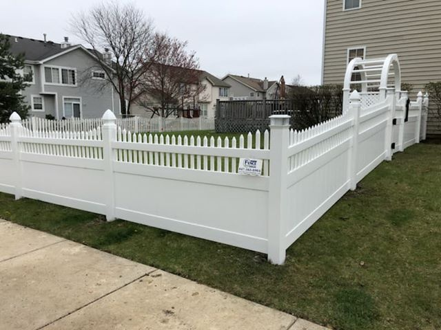 Custom Order white PVC fence with French Gothic Caps, Solar Caps and Arbor