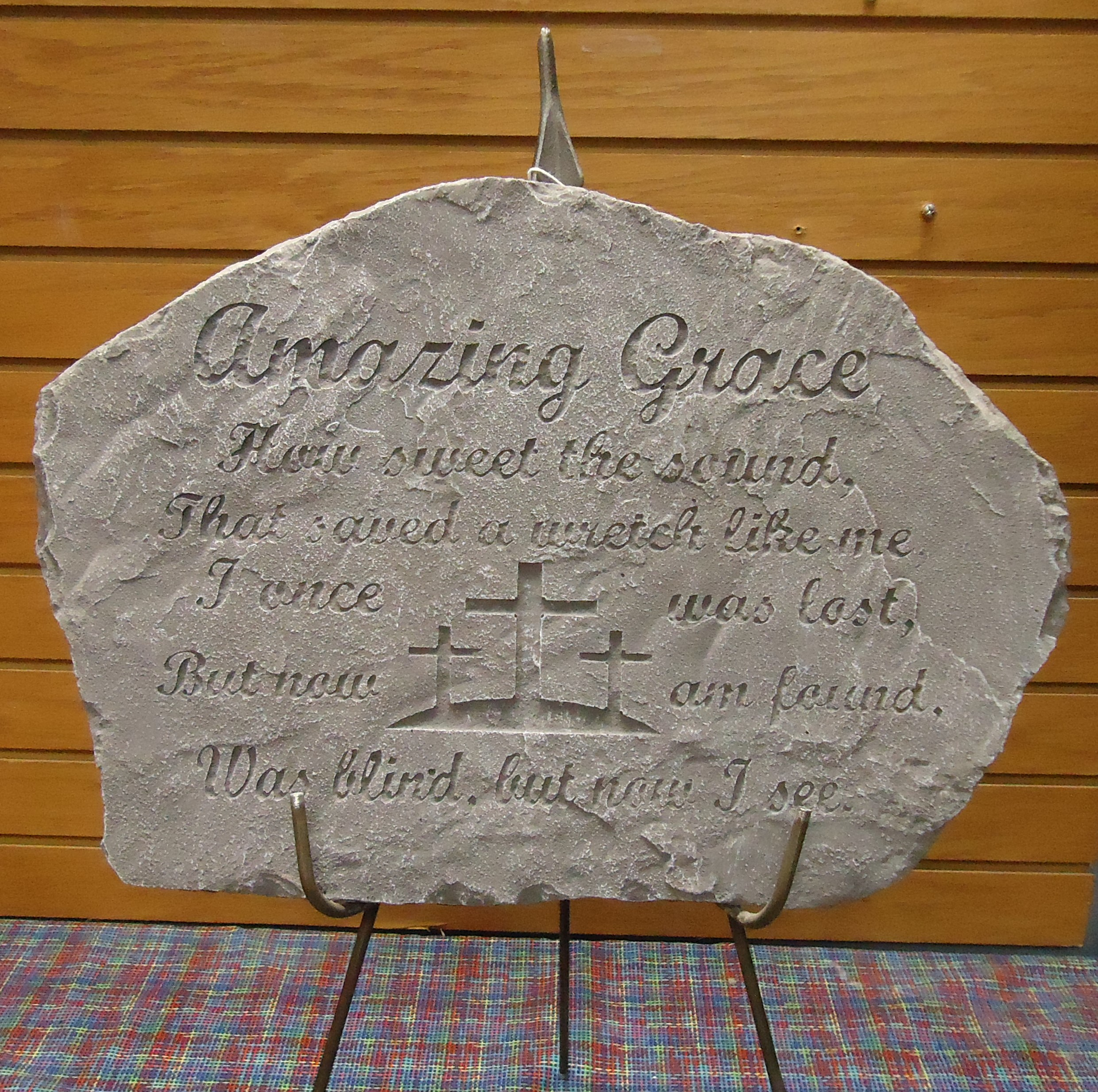 "(34)  ""Concrete"" Memorial Stone On Easel  (Amazing Grace) $65.00"