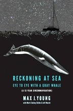 """Reckoning at Sea"" book cover, depicting a sailboat at sea beneath a starry night sky, as a submerged gray whale approaches ominously"
