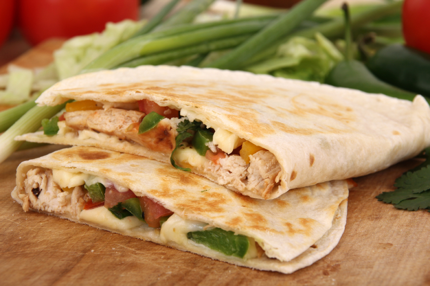 Two chicken quesadillas