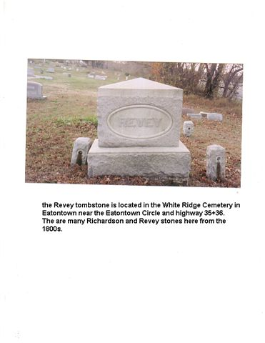 Revey Tombstone in White Ridge Cemetery