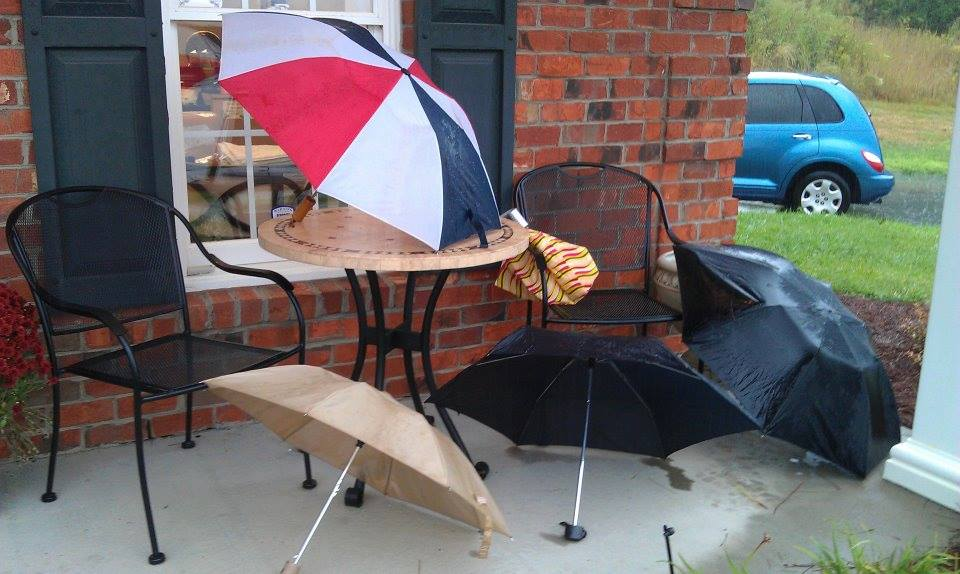 Our Rainy Day Umbrellas. Compliments of our clients ha!