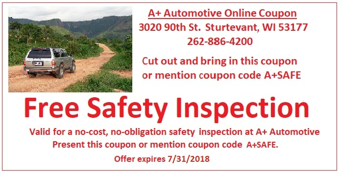 Free Safety Inspection Coupon - A+ Automotive