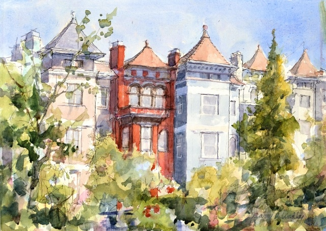 "Barry Lindley, DC Rowhouses, Biltmore St., 11"" x 15"" WC"