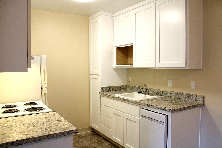 The kitchen will have new granite countertops, new cabinrts, and a new dishwasher.