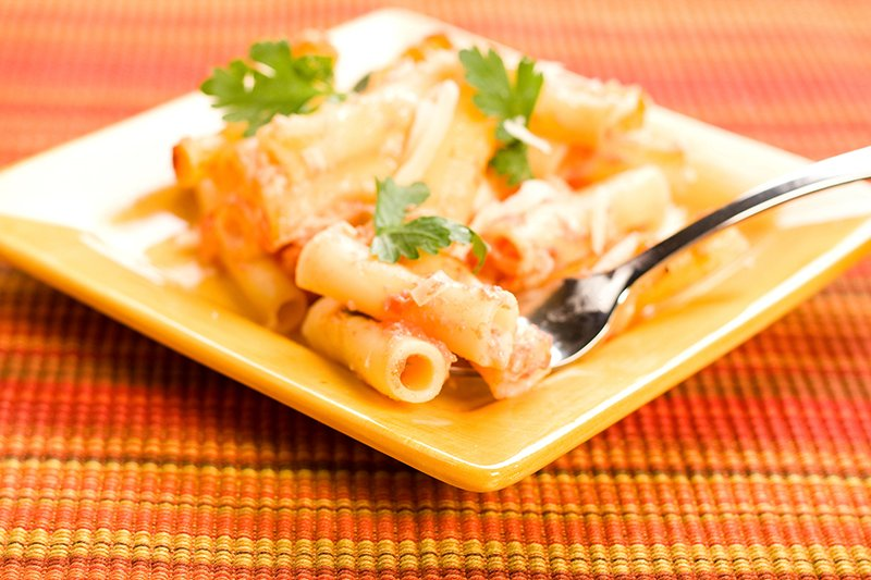 Baked ziti on square plate