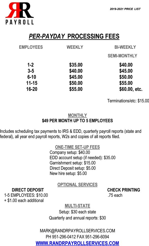 Payroll processing fees