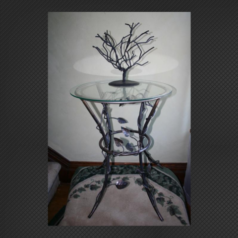 Leaf Design Table with glass top