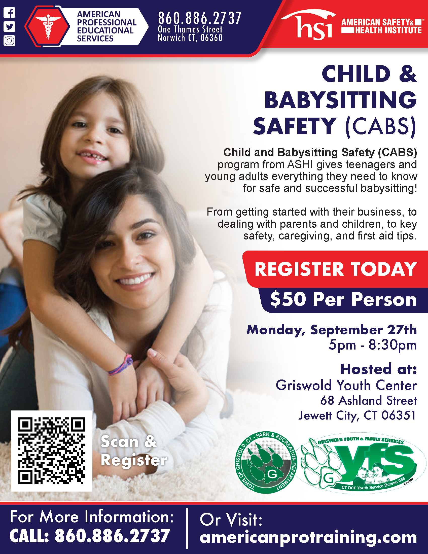 Babysitting & Safety Class, Save $10 (click to learn more)