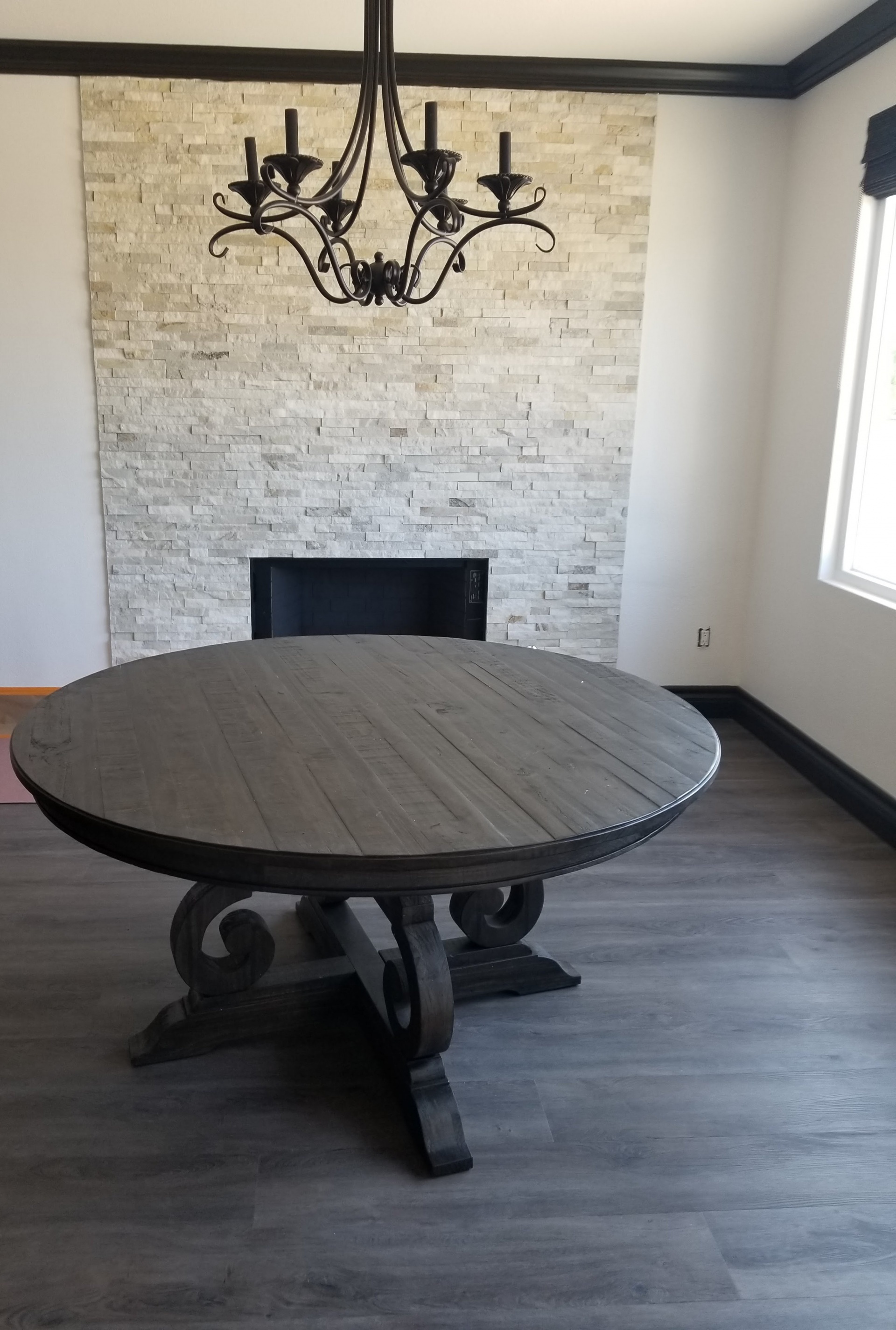 Stock stone on fireplace and  Prime Shades of Grey on the floor