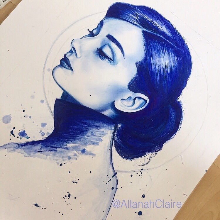 Audrey in Blue, Mixed Media, 2018.