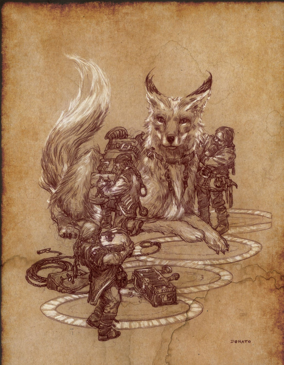"Dwarven Merchants 14"" x 11""  Watercolor Pencil and Chalk on Toned Paper 2016"