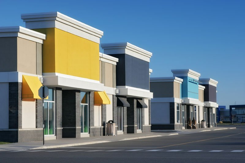 Colorful store building exteriors