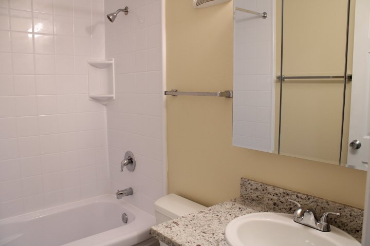 Like the picture, this apartment will have a new granite countertop and new vanity cabinet