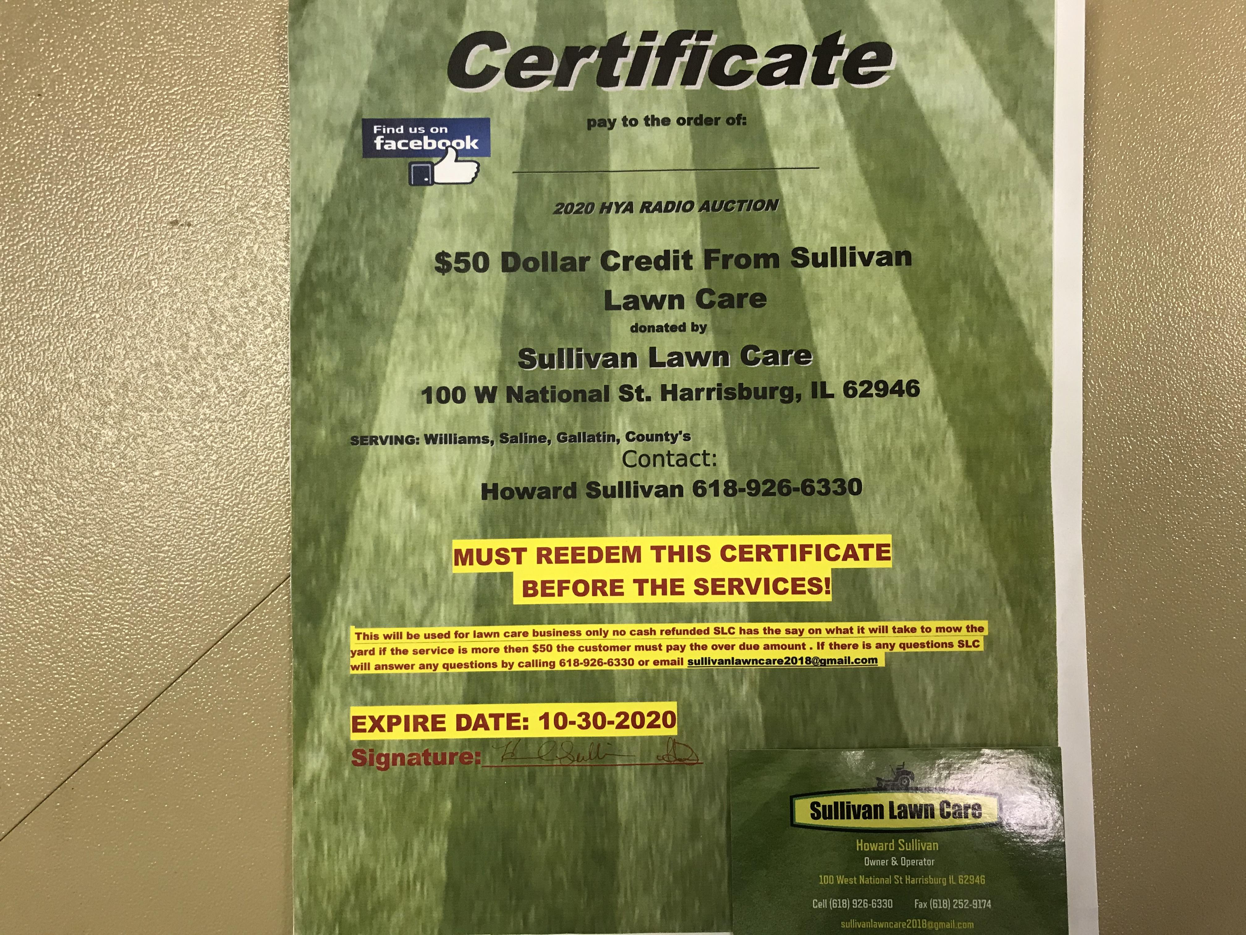 Item 111 - Sullivan Lawn Care $50 Credit