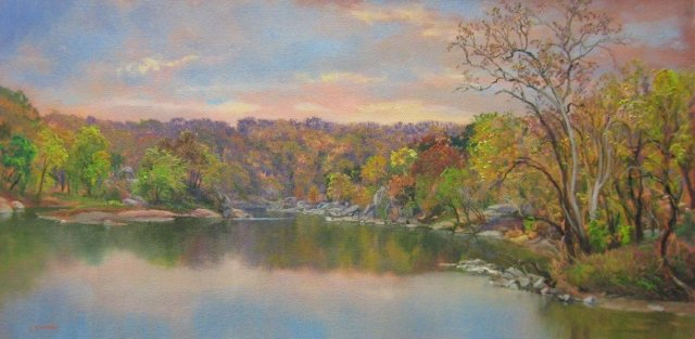 51. Potomac River at Widewater, 12x24 oil on canvas