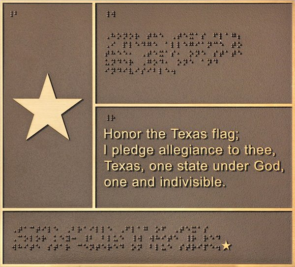 Bronze Braille Flag of Texas