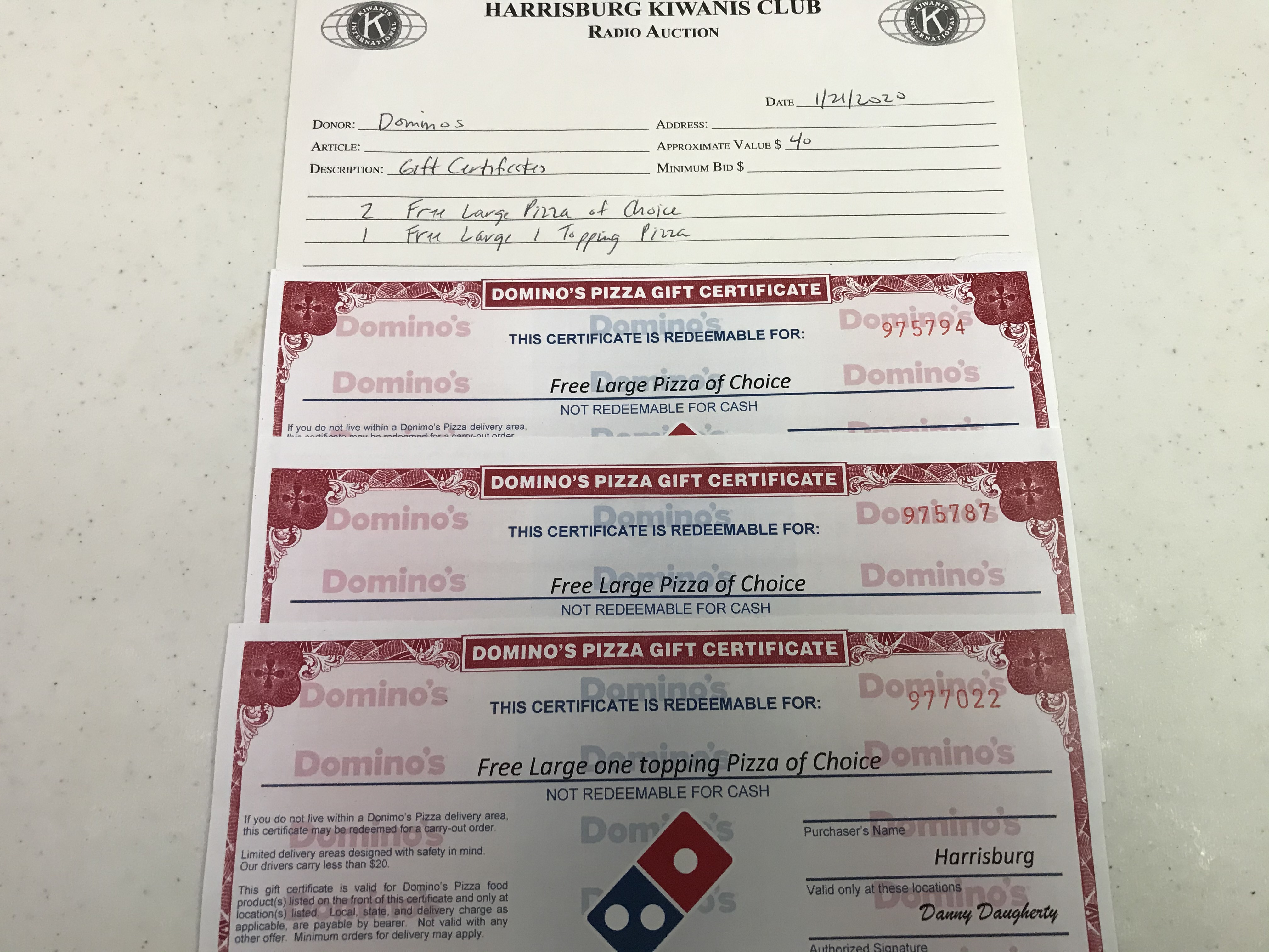Item 115 - Dominos 2 Free Large Pizza of Choice 1 Free Large 1 Topping Pizza