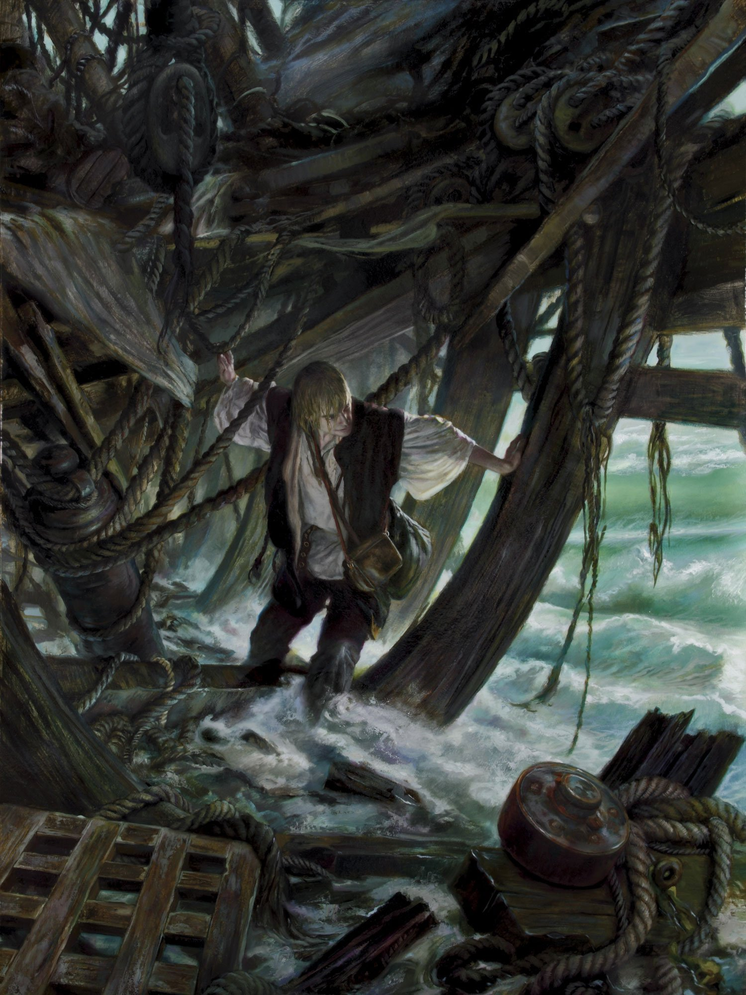 "Scholar- Robinson Crusoe 36""x48"" oil on panel 2011  cover art for the Tor Books novel by L.E. Modessit, Jr original art available for purchase"