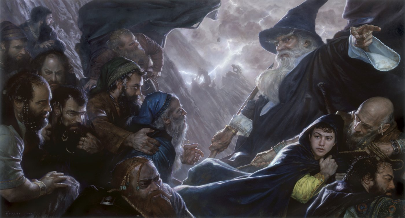"The Hobbit: Expulsion 37"" x 67""  Oil on Panel  2001 crossing the Misty Mountains, humbled by the forces of nature cover art for The Hobbit graphic novel illustrated by David Wenzel and published by Ballantine Books collection of the artist"