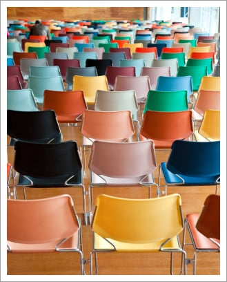 Modern chairs in auditorium||||