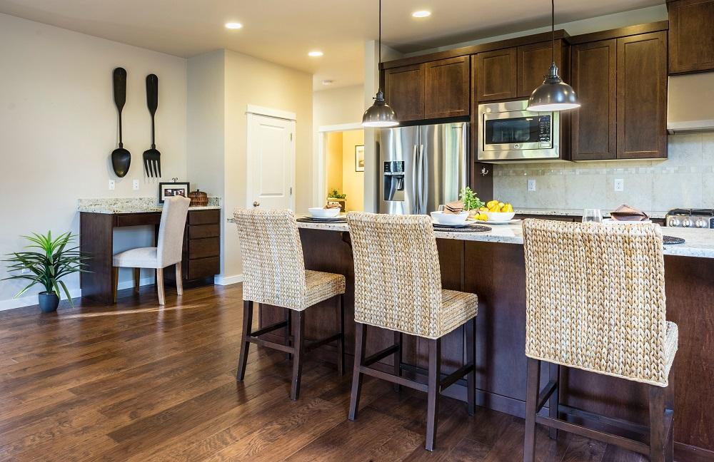 Kitchen with Dark Brown Hardwood Floor