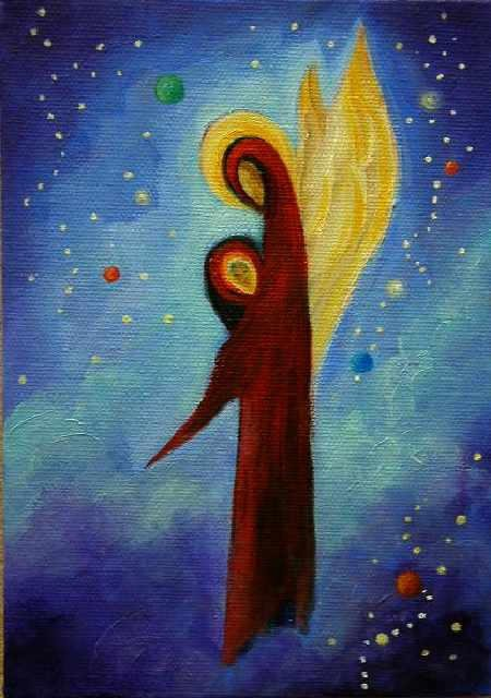 """The Cosmic Guardian  5""""x 7"""" Oil on Stretched Canvas  SOLD  Greeting card available"""