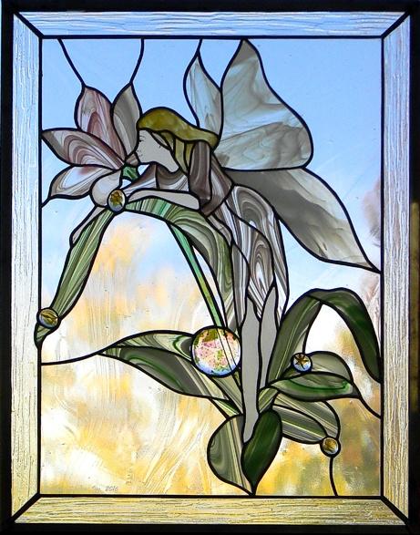"""Dew Fairy"" by Nataliya Guchenia Glass Size - 17""H X 22 3/4""W $450.00"