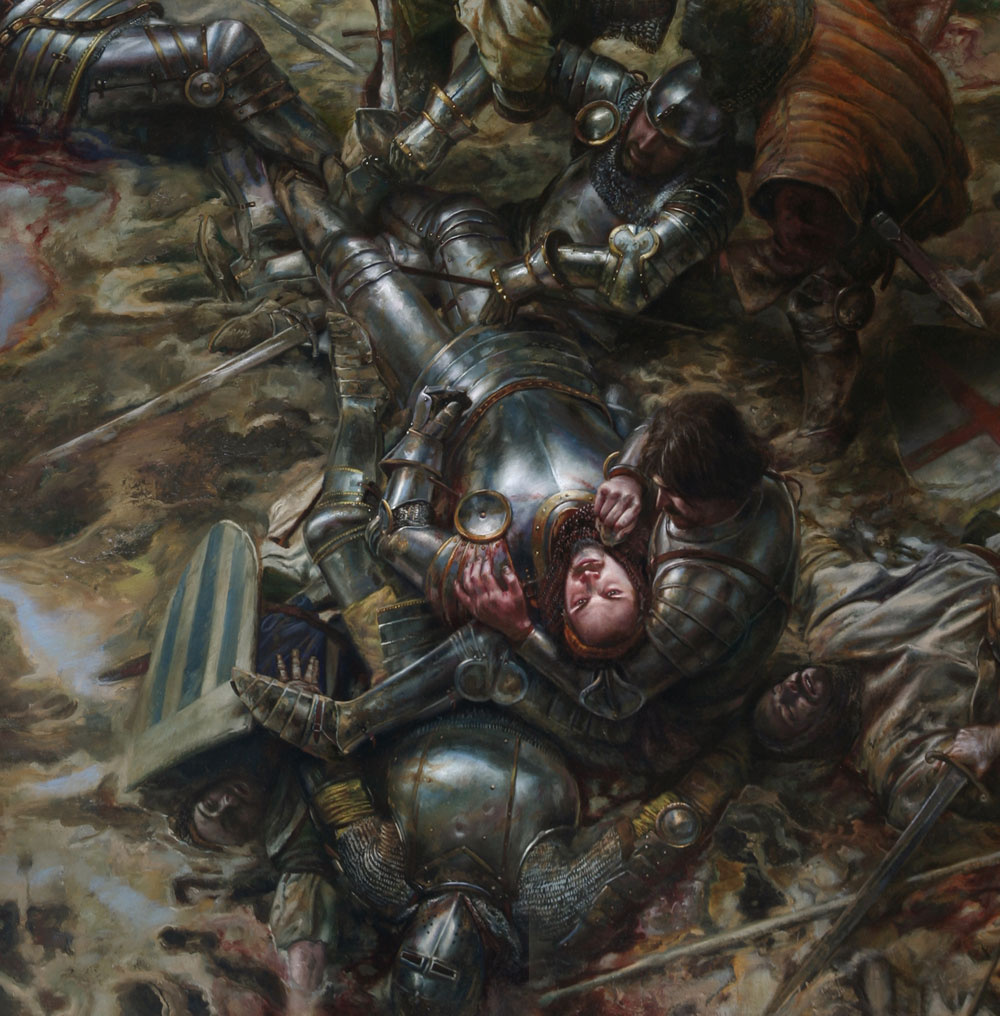 "The Battle of Agincourt, 25 October 1415  detail of center panel of triptych 48"" x 84""  Oil on Panel Collection of Scot Tubbs"