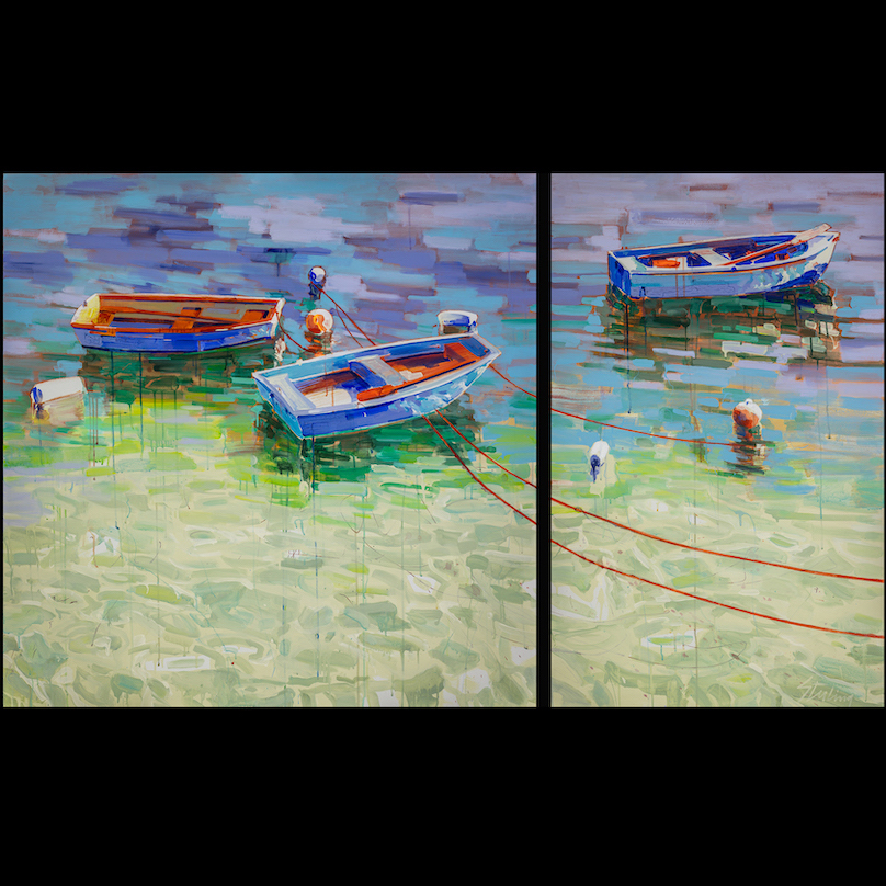 Boats and Buoys 48x80 acrylic on canvas