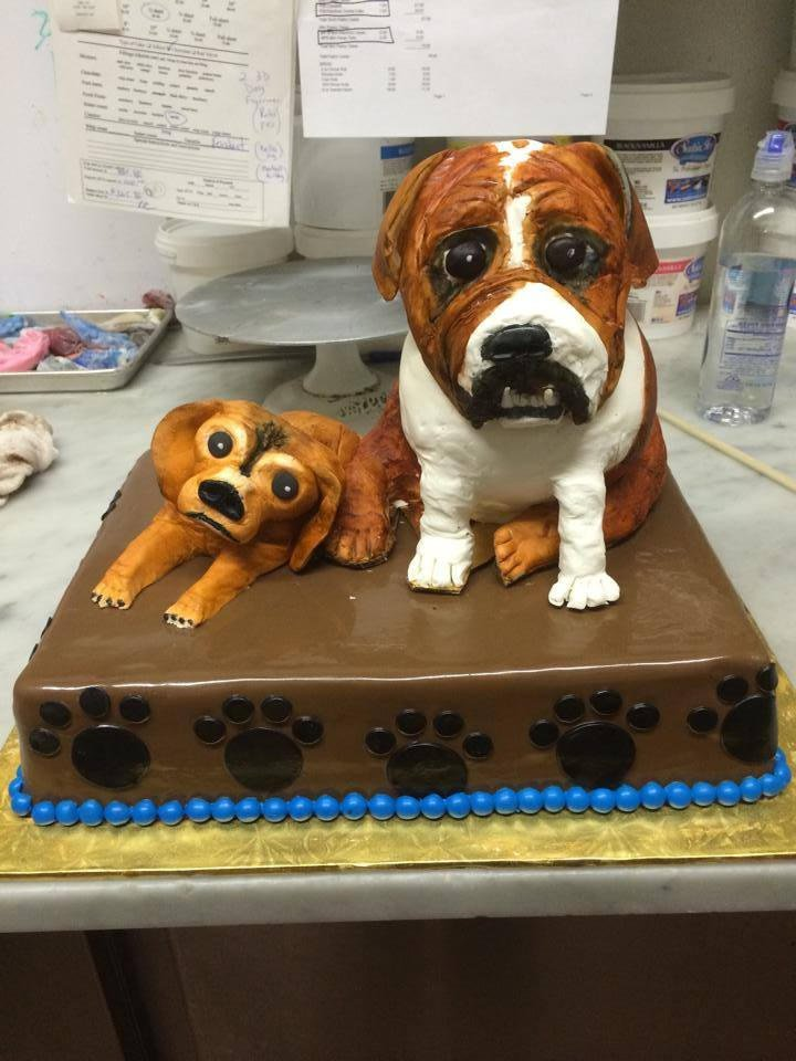 Sheet cake with Edible 3D Puggle and Bull Dog!