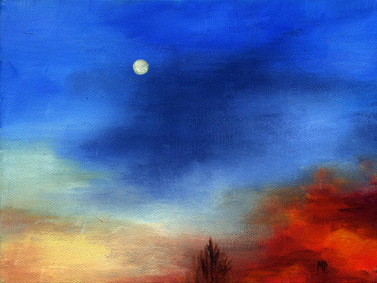 """Fire Below ~ 6"""" x 8"""" Oil on Stretched Canvas  SOLD"""