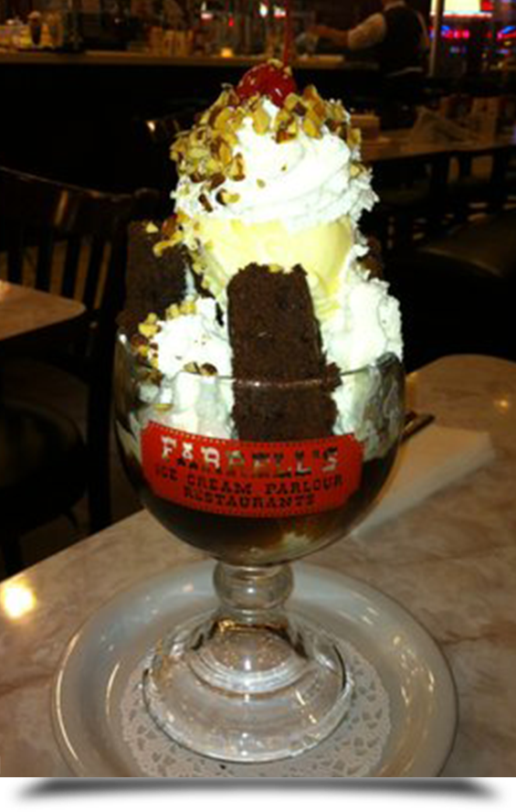 A huge ice cream at farrells||||