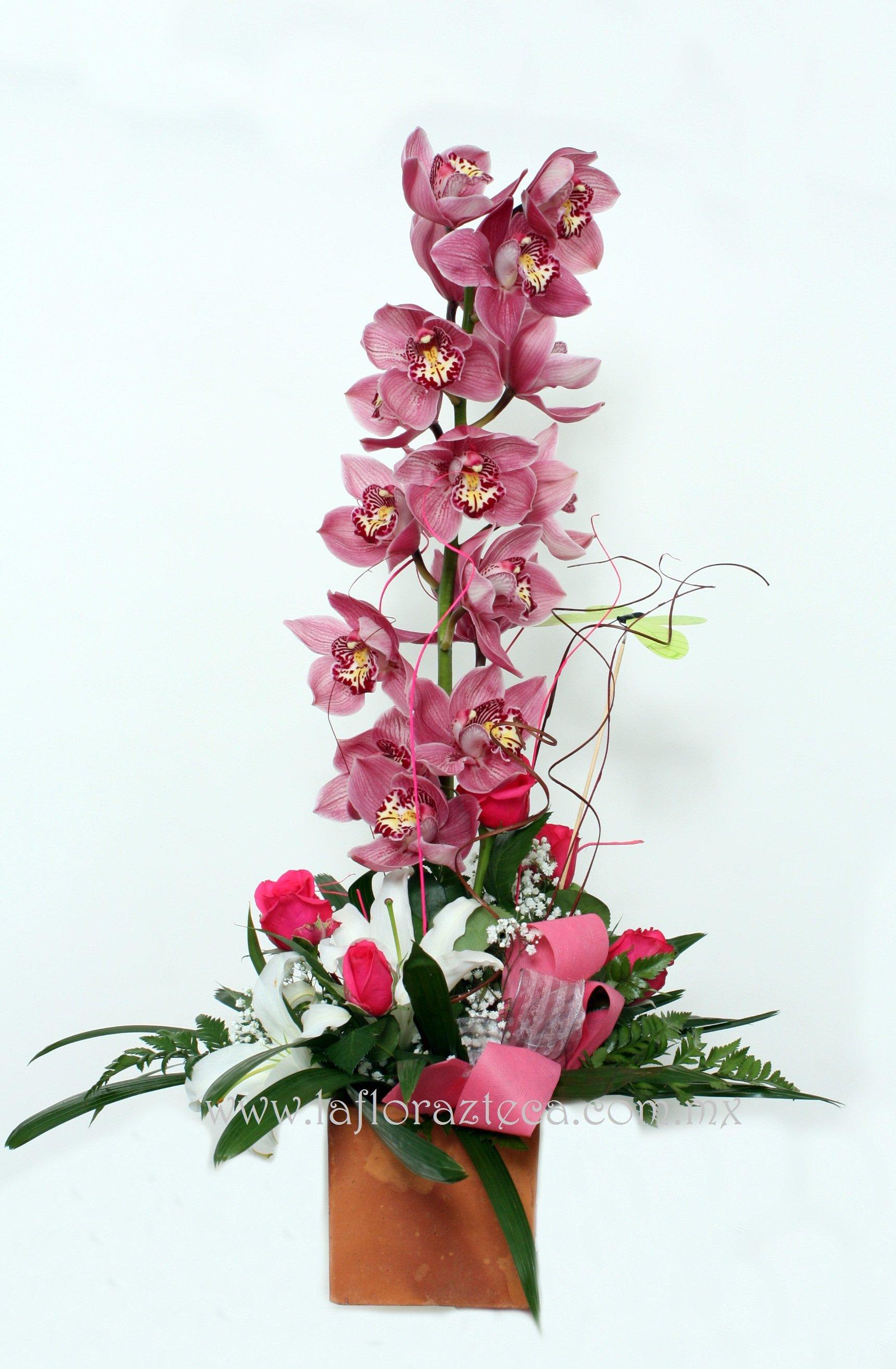 MD - 141  $1,480 Cubo de orquídeas cymbidium, rosas y casablanca