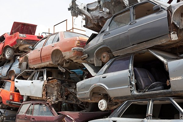 Stack of junk cars